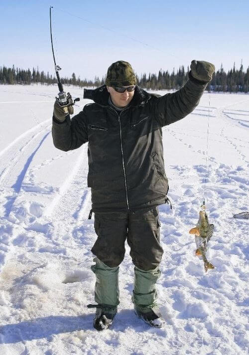 Winter fishing for perch on a summer wobbler